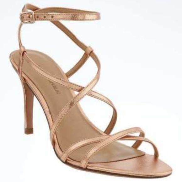 836be19bdee1 Rose Gold BANANA REPUBLIC Strappy High Heels 8.5